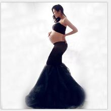 New font b Maternity b font Photography Props clothing for pregnant women Mermaid Dress Pregnancy black