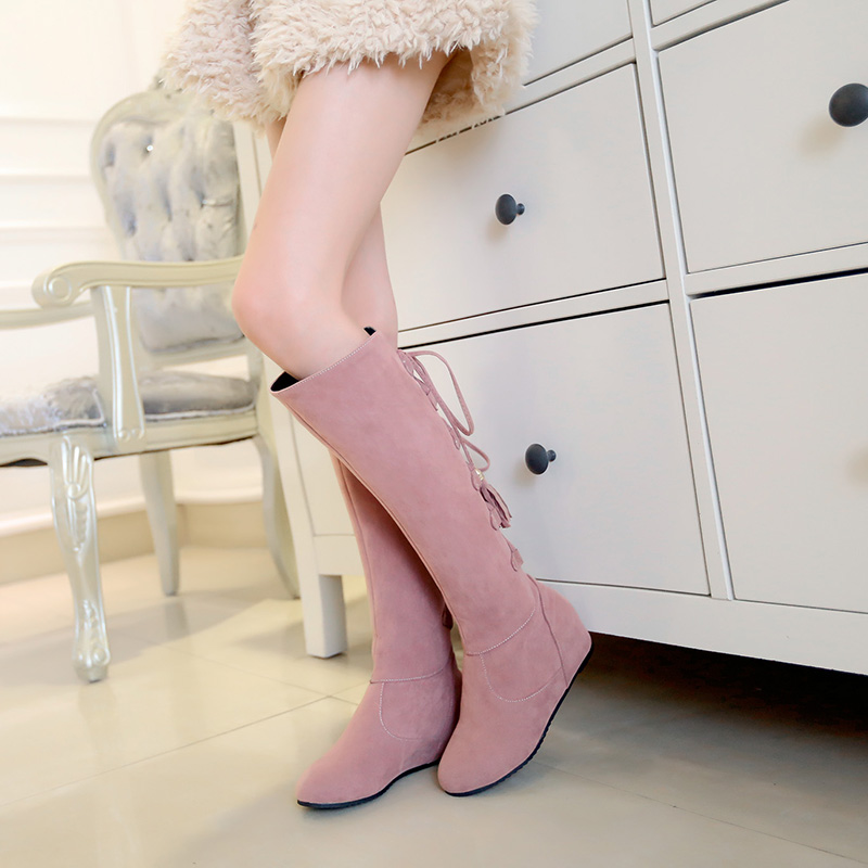 2015 New big size 33-43 winter women shoes solid suede high heel botas Tassel decoration Slip-On Knee-High boots HSY-66-28 <br><br>Aliexpress