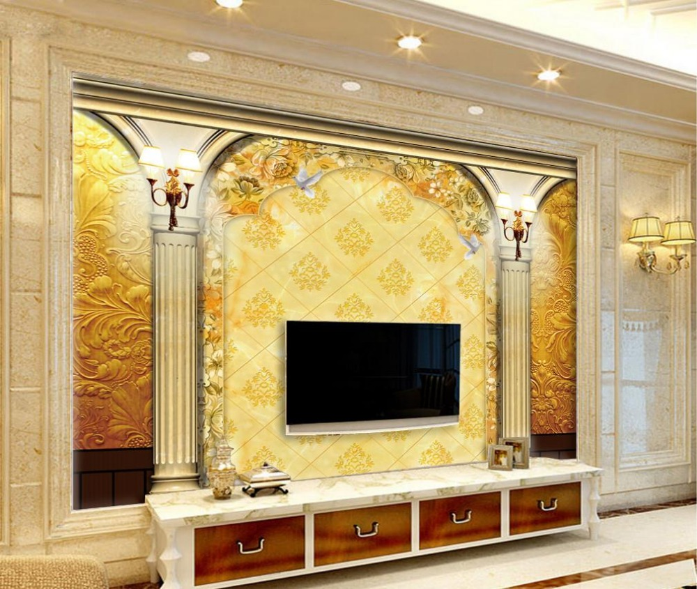 Custom 3d mural wallpaper european style roman column door for Custom mural wallpaper