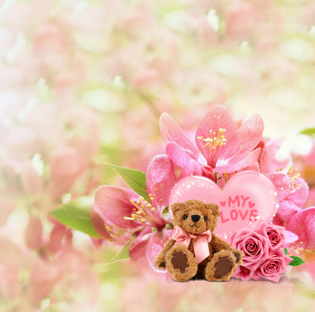 Teddy Bear & Pink Flowers Printed Backgrounds for Photo Studio Props 5X7ft Vinyl Backdrop Children Photo Backdrops(China (Mainland))