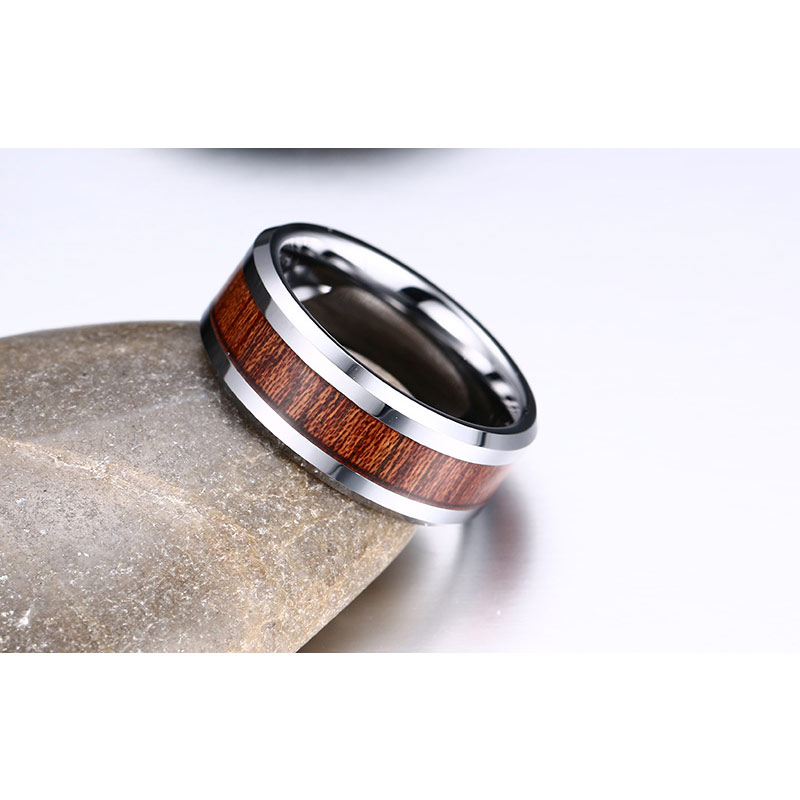 Vnox 100% Real Tungsten Carbide Ring Men's Wedding Ring Retro Wood Grain Design Fashion Party Gift