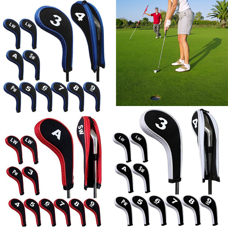 High Quality 12Pcs Rubber Neoprene Golf Head Cover Golf Club Iron Putter Protect Set Number Printed with Zipper Long Neck(China (Mainland))