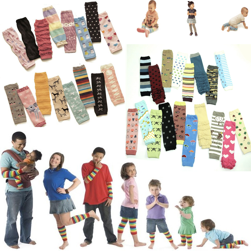 Factory (10 Piece/lot) Baby Infant Girl Kid Arm Warmers Cotton Knee Pad Greave Safety Crawling Elbow Cushion Sock Xmas Gift