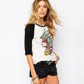 Hot Sale Women Summer Tshirt 2016 Indian Cacique Head Printed Brand Quarter Sleeve Female Camisetas Cotton