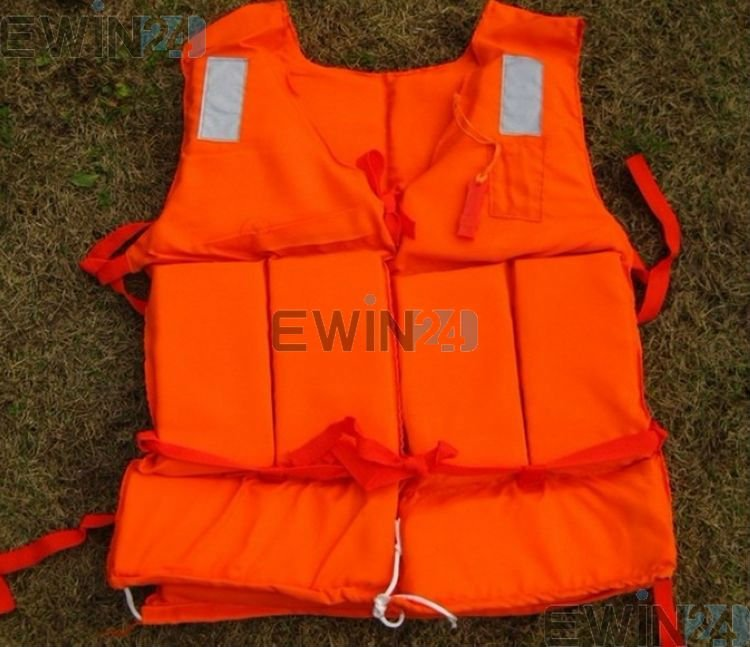 Free shipping Orange Foam Swimming Life Jacket Life Vest for adult with whistle 80KG Flotage of inflatable boats Wholesale 20pcs