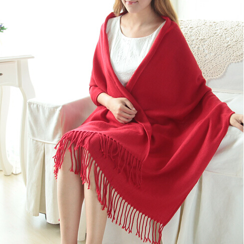 2015 New Fashion Women's Winter Warm Red Knitting Soft Wrap Shawl Long Solid Scarf - Tings'store store
