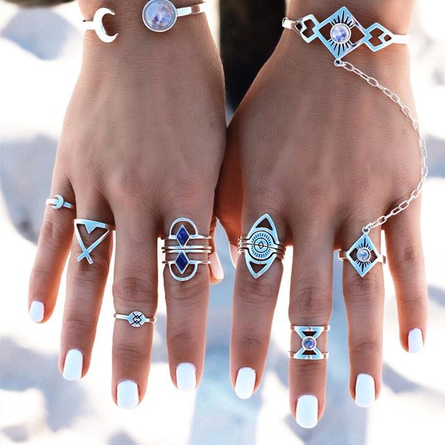 Vintage Ring 8 PCS/SET Bohemian Midi Rings for Women