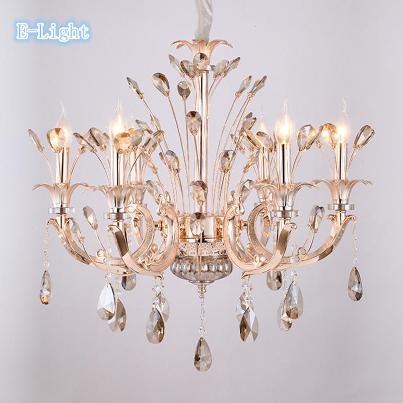 Hot sell candle gold modern crystal chandelier bedroom lamp Elegant Champagne chandelier lamp minimalist restaurant light(China (Mainland))