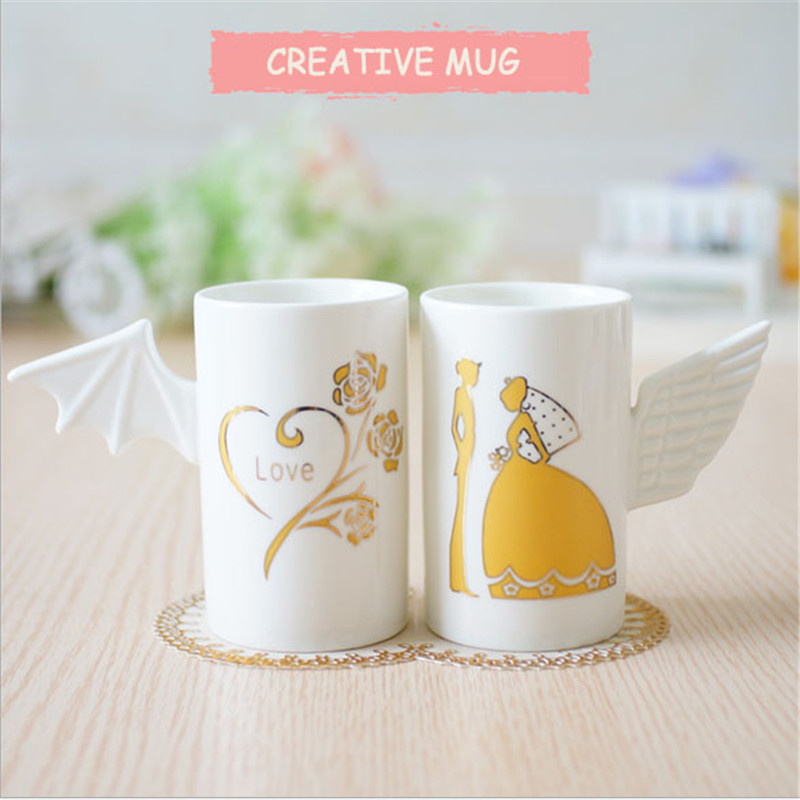 2016 New Arrival 2 pcs Package Loves Wings mugs Birthday Creative gifts Office Adornment coffee milk juice mug cups(China (Mainland))
