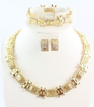 Free shipping fashion trendy rhinestone necklace earring ring and bracelet african 18K gold plated jewellry set for women(China (Mainland))