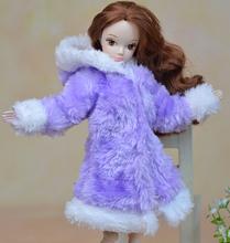 1 unid blanco y púrpura de la felpa pelusa sudaderas capa de desgaste de invierno vestido de traje para la nieve ropa Outfit ropa para 1/6 Kurhn muñeca Barbie