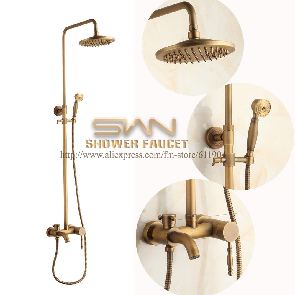 Top mount bathroom sinks - Luxury Antique Brass Exposed Wall Mount Bathroom Shower