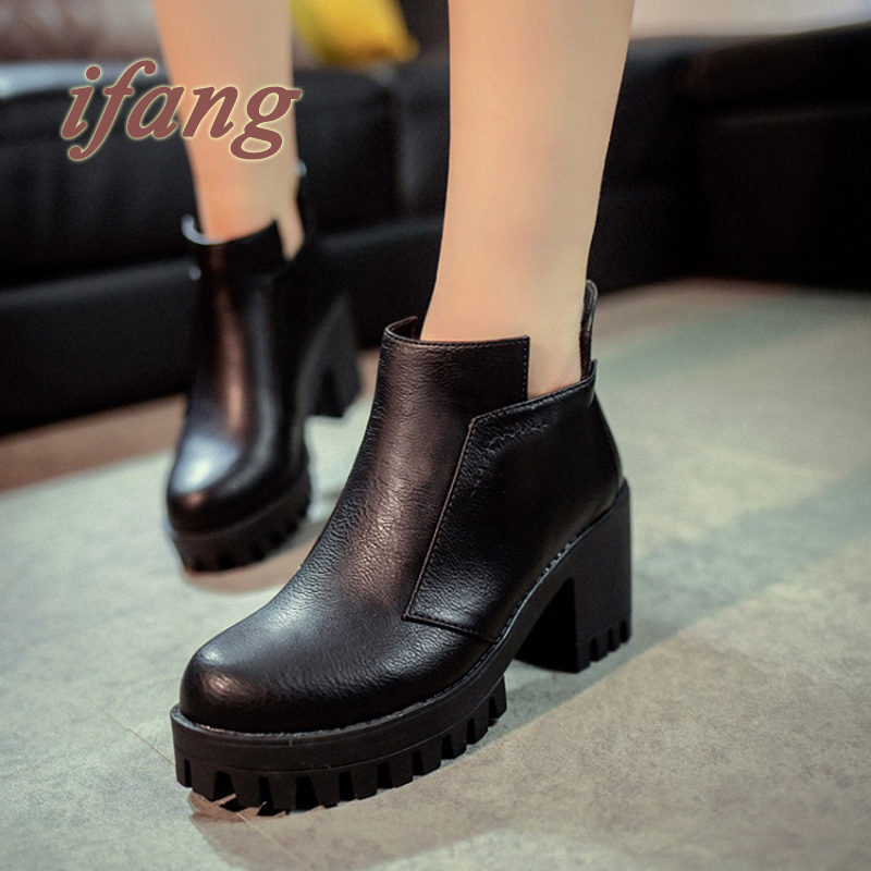 2015 Promotional Winter Autumn Women Boots Platforms Square Heel Ankle Boots Paint Leather Boots Motorcycle Boats Lady Shoes