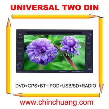 Universal 2 Din Car DVD Player GPS with with Radio, TV,BT,USB/SD+ Russian Menu+free 4G card with map !