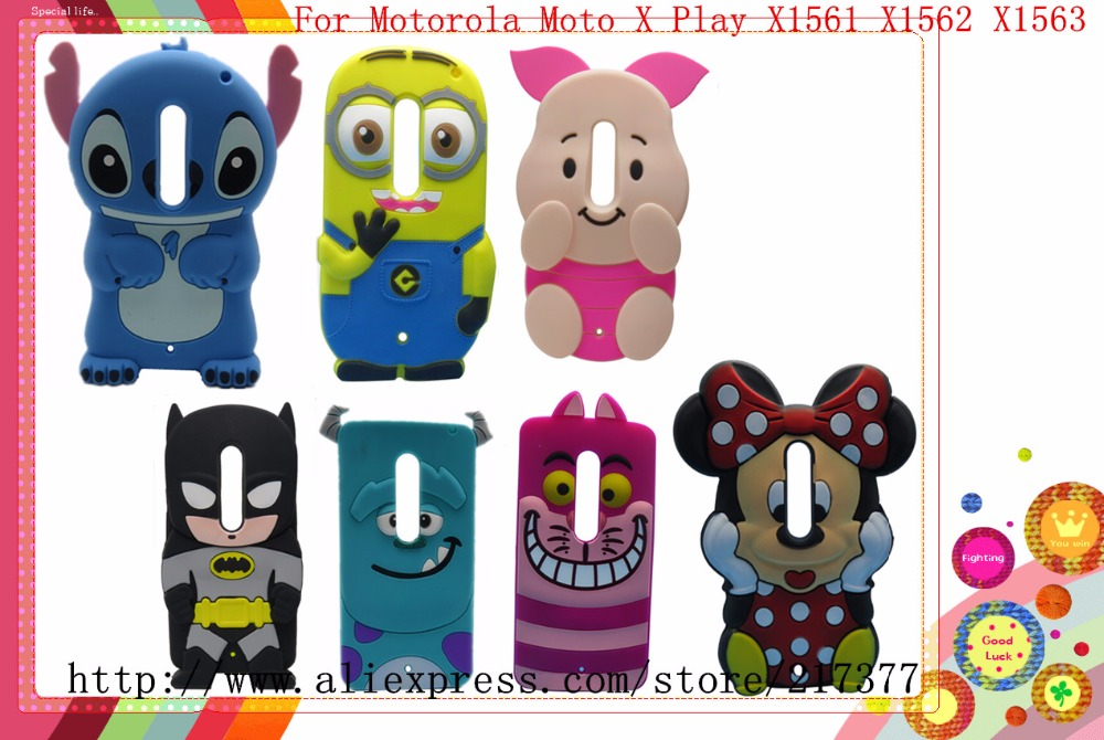 Motorola Moto X Play X1561 X1562 X1563 3D Cartoon Cheshire Cat Winnie Sulley Stitch Minions Silicone Case Back Cover - Mobile Phone and Retail Center store
