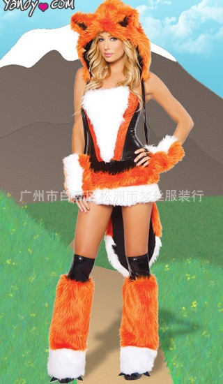 Arrive Halloween Masquerade Orange Fox Fire Role Play Sexy Cosplay Disfraces Sleeveless Animal Costumes Short Dress H1591133 - Professional Co.,Ltd store