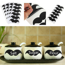 24pcs/lot Vinyl Home Cup Container Chalkboard Sticker Labels In Moustache Wall Sticker Blackboard Sticker 4cmX8cm(China (Mainland))