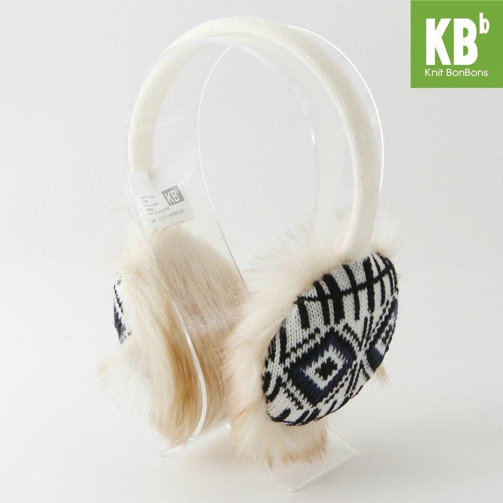 2017 KBB Spring Winter Hot Style Faux Fur with Line & Blocks Design White Women Men Children Girl Boy Knit Winter Earmuffs