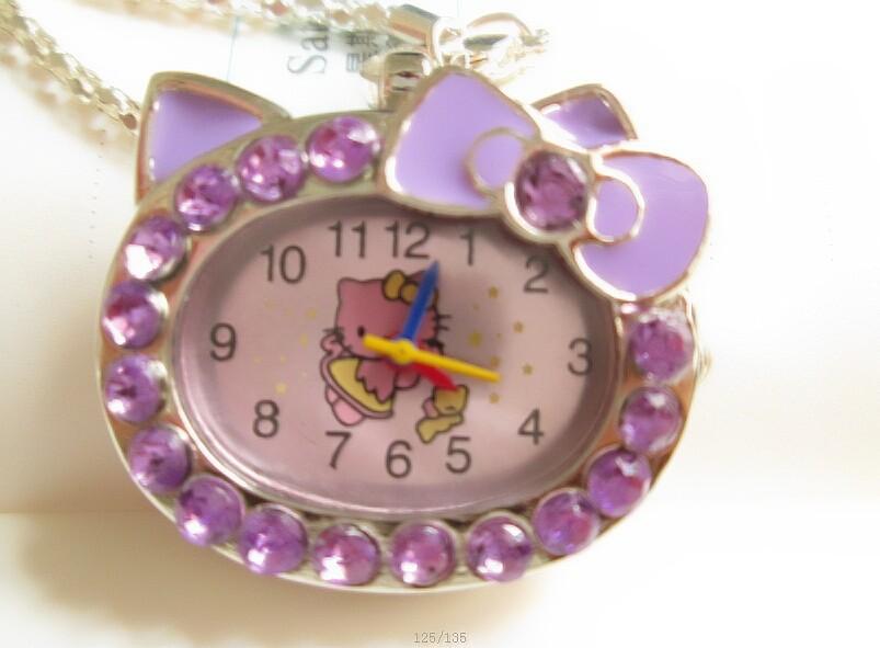 free shipping 1pcs Hello kitty Crystal Stone Quartz Girls Ladies Pocket Necklace Watch(China (Mainland))