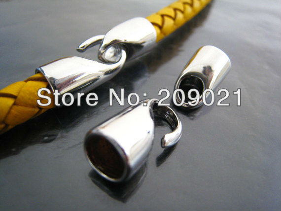 DIY 100pcs Rhodium Plated End Cap S Hook Toggle Clasp Clousure Fastener Buckle for Round Leather Cord Jewelry Finding