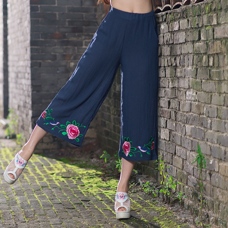 Ethnic pant 2017 women female Mexico style vintage grey blue floral embroidery capris trousers traditional Chinese clothing