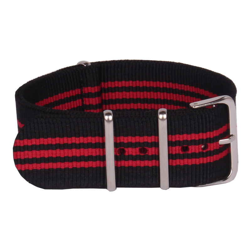Wholesale 24 mm Multi Color Black Red Army Sports nato fabric Nylon watchbands Watch Strap accessories