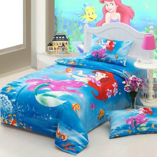cartoon the little mermaid blue girls bedding set twin size for kids bedspread bed sheet duvet. Black Bedroom Furniture Sets. Home Design Ideas