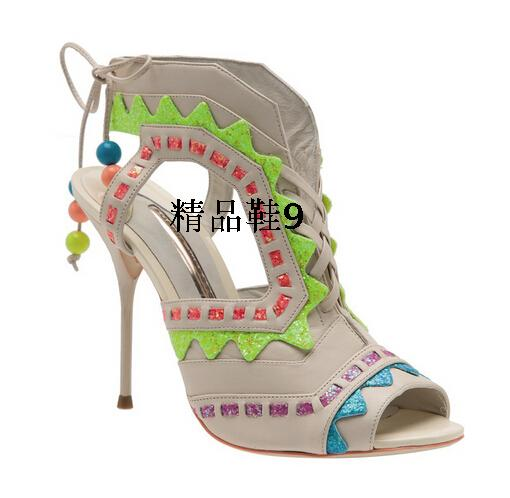 Silla Rulers Gladiator Sandals Women Summer Shoes Mixed Color Fringe Heels Lace Up Sexy High Heels Shoes Woman Stage Pumps Shoes(China (Mainland))
