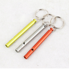 Free Shipping 1Pcs Aluminum Alloy Emergency Survival Whistle Keychain For Camping Hiking Outdoor Sport Tools 3 Colors Can Choose(China (Mainland))