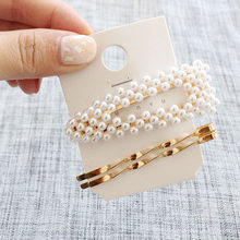 F091 3Pcs/Set Pearl Metal Hair Clip Hairband Comb Bobby Pin Barrette Hairpin Headdress Wedding Hair Accessories Women Hair Pins(China)