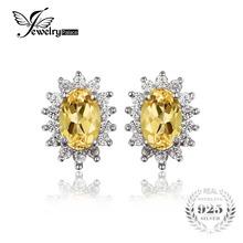 JewelryPalace 1.5ct Овальный Природный Цитрин Серьги Стержня Стерлингового Серебра 925 Очаровывает Принцесса Кейт Диана Свадьба Серьги(China (Mainland))