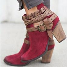Vrouwen Laarzen Mode Toevallige Dames Schoenen Martin Laarzen Suede Lederen Gesp Laarzen Hoge Hakken Rits Sneeuw Schoenen Voor Femme(China)