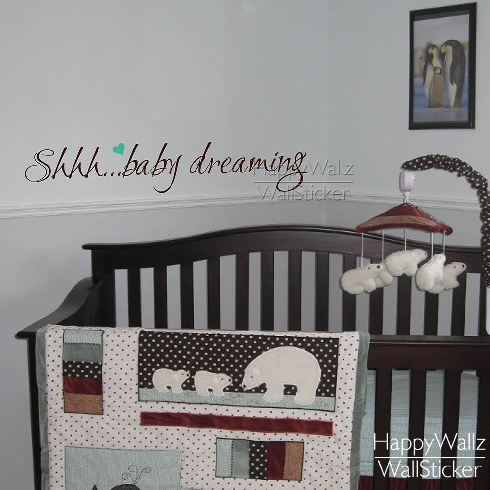 Shhh.. Baby dreaming Quote Wall Sticker Baby Nursery Quote Wall Decal Kids Room Wall Decors 517Q(China (Mainland))
