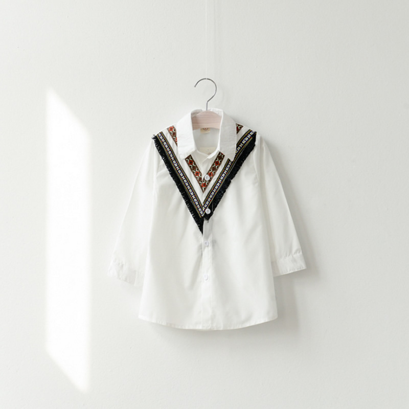 Children's Clothing Girl Clothes Long-sleeved White and Black Fashion National New Brand Design Girls Blouse Student Kids Shirts(China (Mainland))