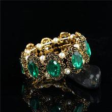 Hurtownie marka Hotsell w stylu Vintage złoty kolor zielony duży kamień kryształki górskie bransoletka bransoletka biżuteria dla kobiet ślubne(China)