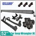 Oslamp For Jeep Wrangler JK 2007 2015 Refit System 500W 52 Offroad 4X4 Driving LED Bar