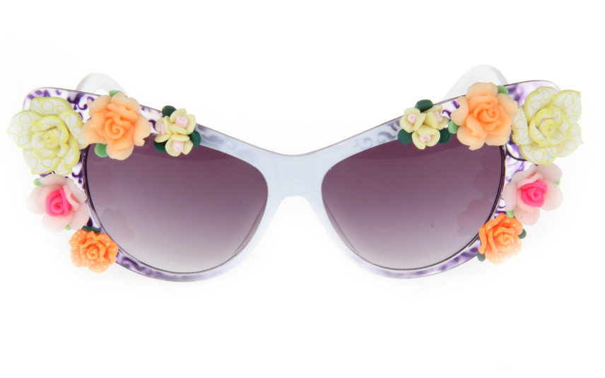 2014 New Fashion Statement Colorful Flower Summmer Beach Sunglass Cat Sunglass Women Handmade Flower Holiday Gifts For Women8794(China (Mainland))