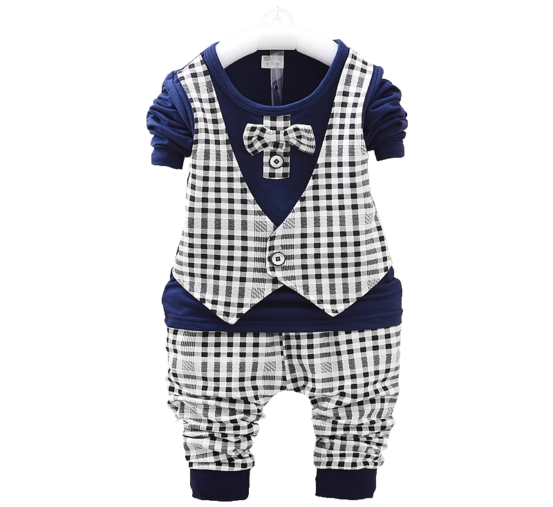 European Style Plaid bow tie tops pant toddler boy suits baby wedding suit suits for baby boys kids clothes set formal gentleman(China (Mainland))