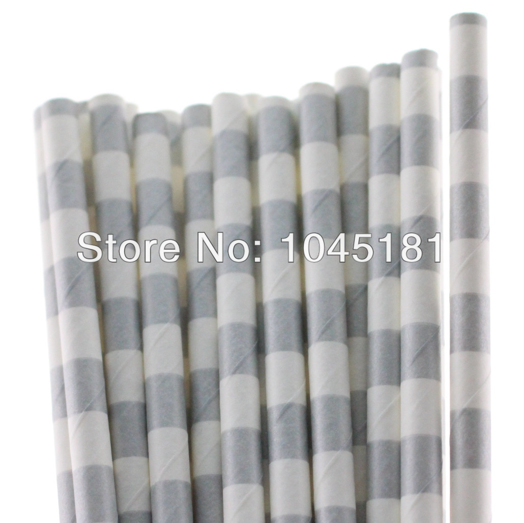 2000 PIECES Gray Sailor Striped Paper Straw Birthday Thanksgiving Party Straws (19.7cm)(China (Mainland))