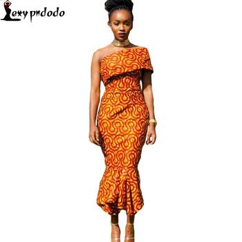 Autumn dress 2016 New Fashion Women Party Long Dress Sexy Night Midi Dress Single Shoulder Mermaid Hem Africa Print Dresses