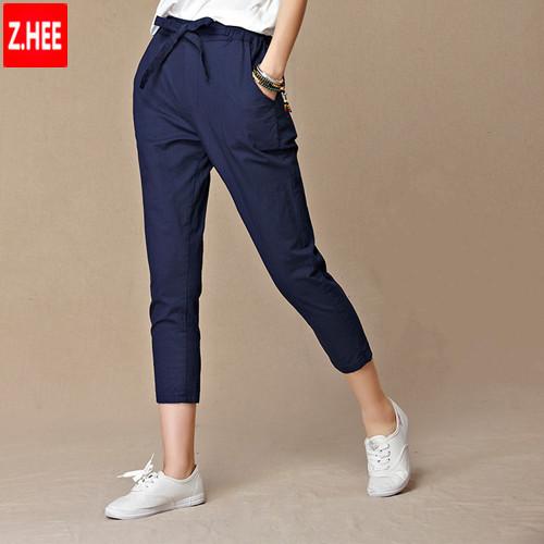 Large Size Summer 2015 Womens Harem Pants Cotton Linen Elastic Waist Drawstring Casual Loose Pants Women Pants Capris(China (Mainland))