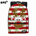 ONE2 Design Christmas deer reindeer university striped students women man teenager boy girl polyester school bag