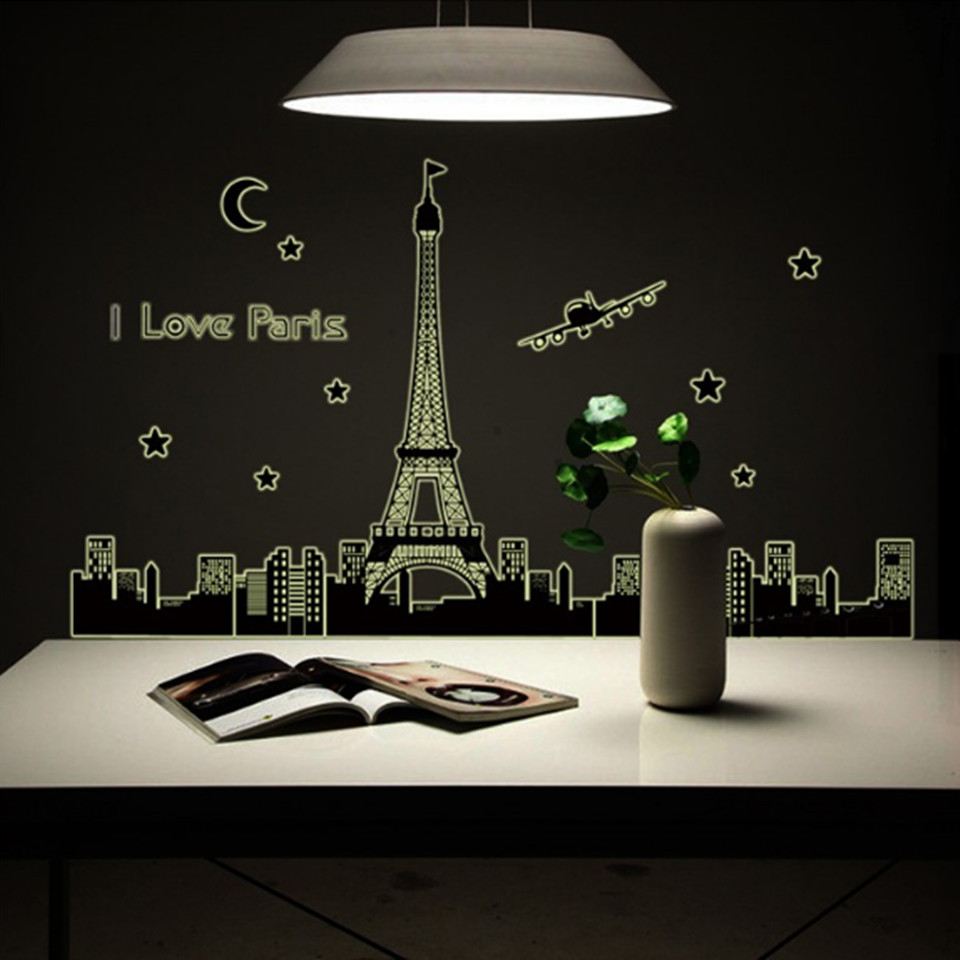 I Love Paris Wall Sticker Mural Luminous Fluorescent Eiffel Tower Wall Stickers Home Decor Living Room Large Art Decals Poster(China (Mainland))