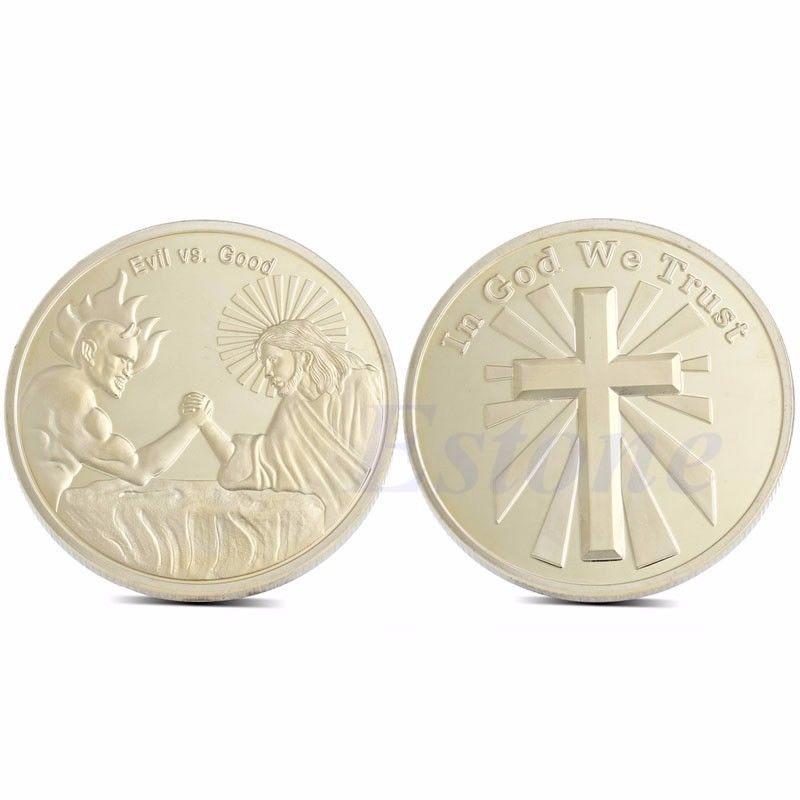 In God We Trust Evil vs Good Christian Faith Challenge Art Coin Religious Gift(China (Mainland))