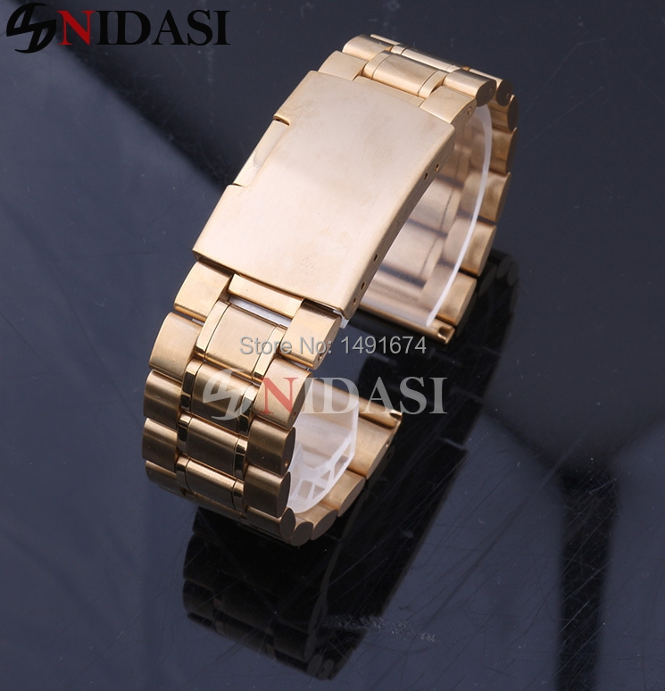 Free shippping watch Strap bracelet Watch Accessories strap 16 18 20 22 24mm watchband Gold solid stainless steel band