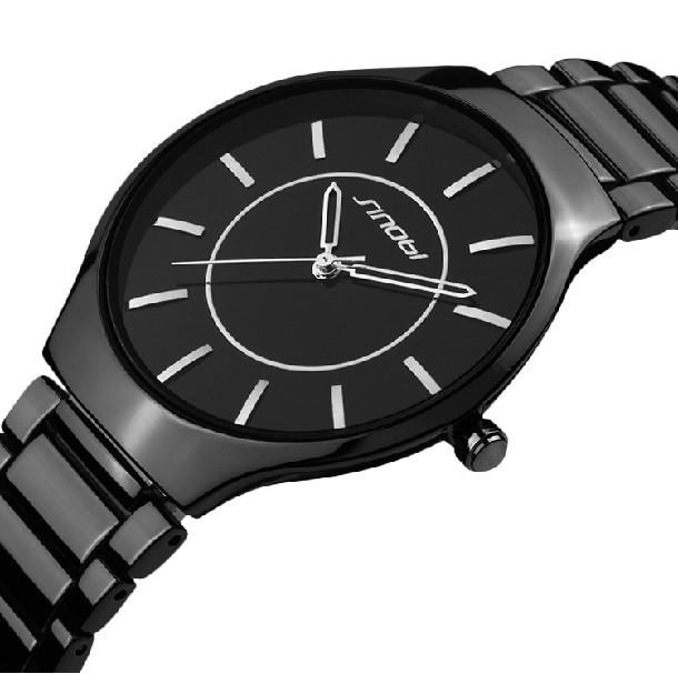 relogio masculino Luxury SINOBI Brand Black Stainless Steel Strap Watches Analog Display Men's Quartz Watch Men Wristwatch(China (Mainland))