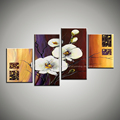 White orchid flower painting decorative cheap abstract handmade canvas oil painting set wall picture for living
