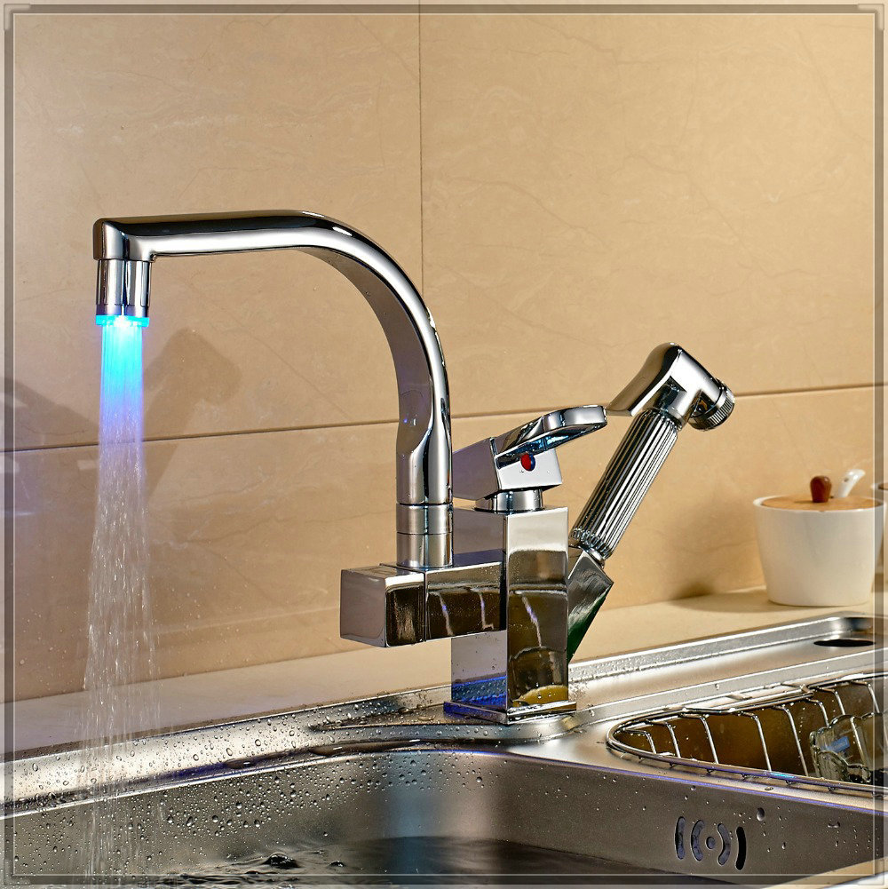Led swivel spout kitchen sink faucet pull out hand spray - Kitchen sink sprayers ...