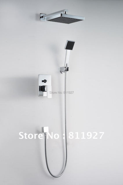 Fast free shipping High quality bathroom concealed rainfall square shower set faucet bath tap mixer chuveir low price promotion