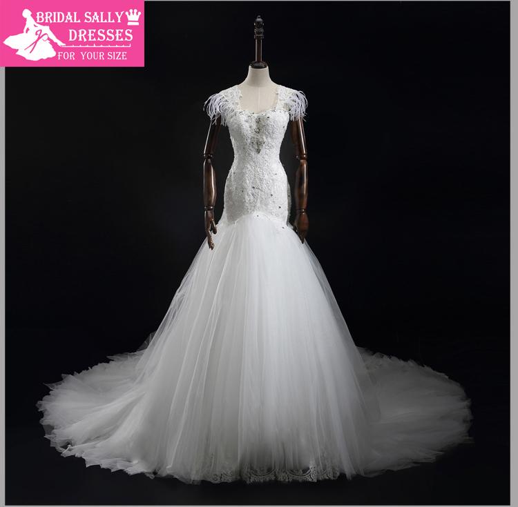 Real sample mermaid wedding dresses feather see through for Wedding dress with see through back